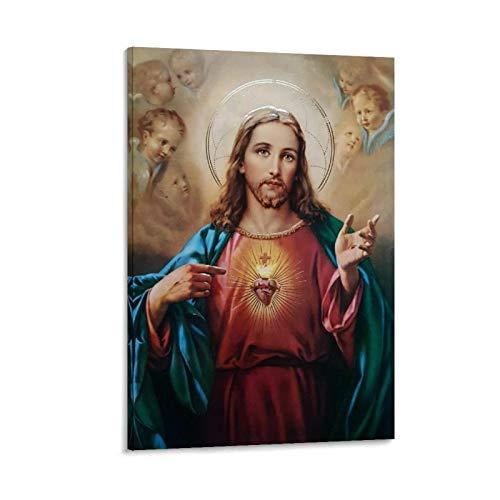xiaoqiang El Santo Corazón de Jesús Póster Decorativo Cuadro de la Pared Arte de la Sala de estar Cartel de Dormitorio 40 x 60 cm