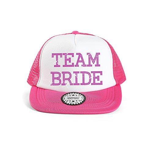 Baseballkappe mit Schriftzug 'Team Bride', Strass, für Brautparty/ Hochzeit rose
