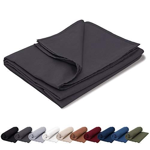 EllaTex Renforce Bettlaken Haustuch aus 100% Baumwolle ohne Gummizug, Farbe: Anthrazit-Grau, Größe: 140 x 200 cm