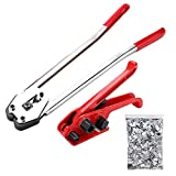 Binding Tool Kit for Strapping - Poly Strapping Tensioner Cutter & Sealer Manual Banding Tool Windlass Set for 1/2'- 3/4' Width Polyester Polyproplyn Strap, with 200 Strapping Seals for 1/2' Strap