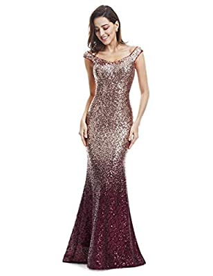 Ever-Pretty Womens Long Sequins Fitted Mermaid Style Evening Dress 06 US Red