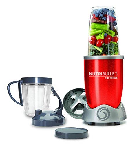 NutriBullet NB90928R Extractor de nutrientes original con recetario en español, ciclónico, apto lavavajillas, 900 W, alta velocidad 25.000 rpm, color rojo