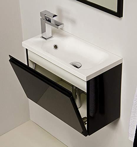 Quentis Waschplatzset Faros, Breite 50 cm, Waschbecken und Unterschrank, schwarz glänzend, Waschbeckenunterschrank montiert