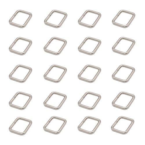 Leen4You Hook Bag Purse Rectangle Rings Webbing Belts Buckle D Belt Buckle Adjuster D Webbing Belt Ribbon Buckle 25mm Strap Adjuster Color Silver (Pack of 20)