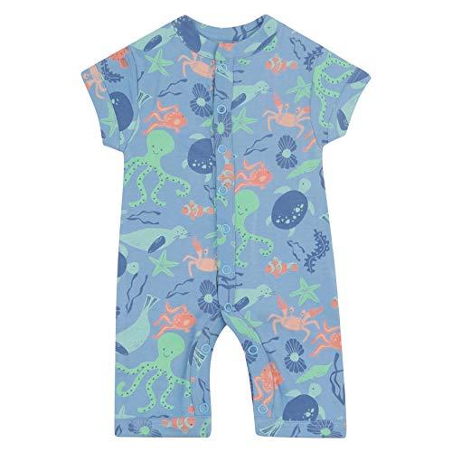 Piccalilly Fußloser Schlafanzug für Baby, kurzärmlig, weiches Bio-Jersey, blau Sealife Unisex Mädchen + Jungen Gr. 12-18 Monate, blau