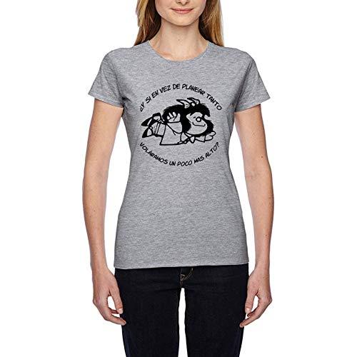 Volar Libertad Comics Frases - Camiseta Mujer Manga Corta (Gris Jaspeado, M)