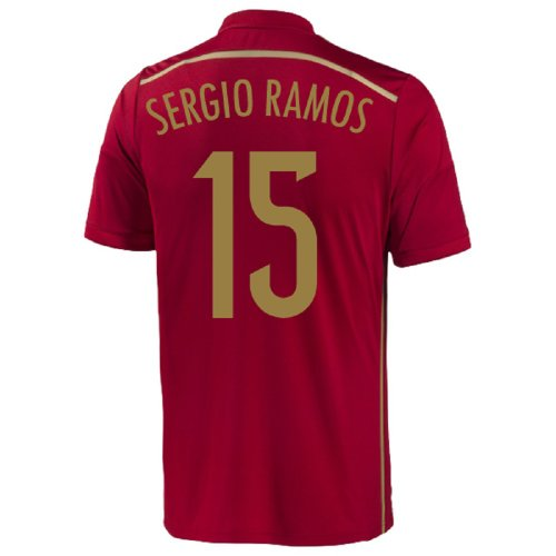 adidas Sergio Ramos #15 Spain Home Jersey World Cup 2014 (Youth) (YL) Red