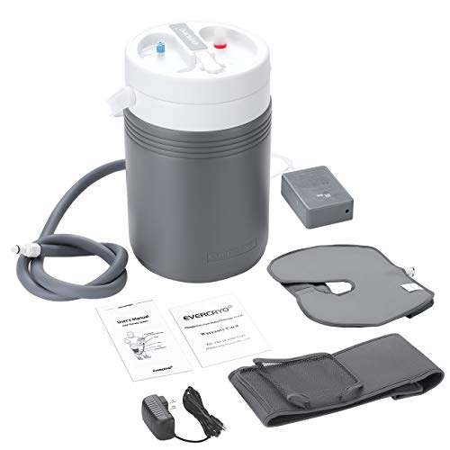 EVERCRYO Cold Therapy Machine System with Large Knee Pad, Adjustable Ergonomic Wrap Pad and Cooler Pump, Quiet, Lightweight and Effective Cryotherapy Freeze Kit Pump