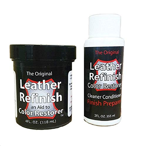 Leather Refinish Color Restorer Aid and Cleaner/Conditioner Finish Preparer Combo Kit - 2 Pieces, Black