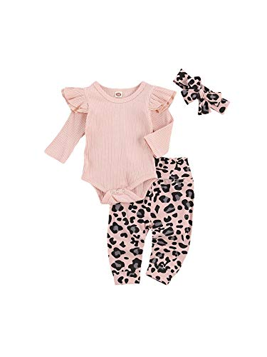 Milumilu Completini Neonata Leopardato Floreale 0-24 Mesi Pagliaccetto a Manica Lunga + Pantaloni + Fascia 3 Pezzi Tutina in Cotone Carino e Elegante Completo Bimba (Rosa, 0-3 Mesi)