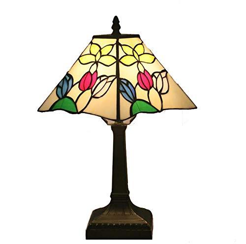 NANXCYR Lámpara de Mesa Estilo Tiffany, tulipán Cuadrado Europeo de 11 Pulgadas, lámpara de cabecera con vitrales Art Deco, lámpara de Lectura para Sala de Estar, Dormitorio, Oficina