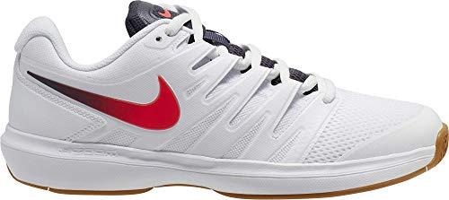 Nike Nikecourt Air Zoom Prestige, Chaussure de Tennis Homme, Blanco/Laser Crimson/Gridiron/Wheat, 40.5 EU