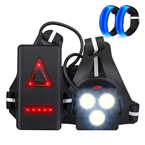 Luz para Correr LED, Anbte Lámpara de Pecho y 2 Brazaletes LED, 3 Modos de Luz y 120° Ángulo Ajustable con Luz de Advertencia de Seguridad Deportiva Impermeable para Correr y Andar en Bicicleta