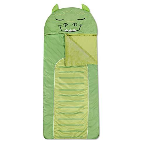 "Heritage Kids Monster Plush Hooded Sleeping Bag, 64"" L x 25"" W, Green"