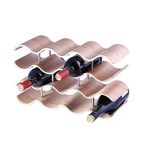 Dirgee Home Countertop Wave Wine Rack, Freistehende Tischplatte Weinaufbewahrungsständer Halter Arbeitsplatte Spirituosenanzeige Stapelbare dekorative Organizer 14 Flaschen Beige