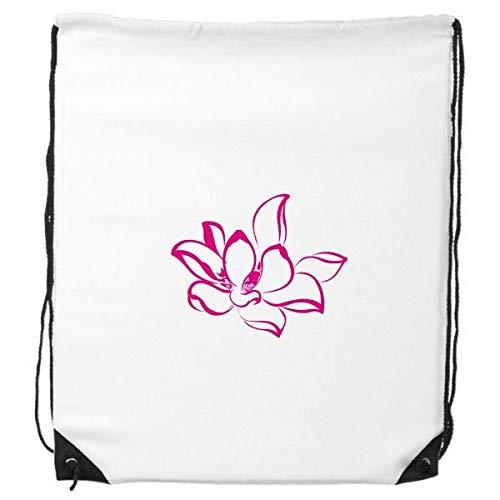 Planta Flor de flor de loto rosa cordón mochila deportes de la compra bolsas de regalo