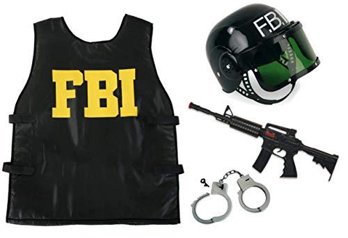 KarnevalsTeufel Kostüm - Set FBI für Kinder | 4-TLG. FBI-Weste, FBI-Helm, Handschellen und Spielzeug-Maschinengewehr | Agent, Geheimermittler, Security, Polizei, SWAT (152)