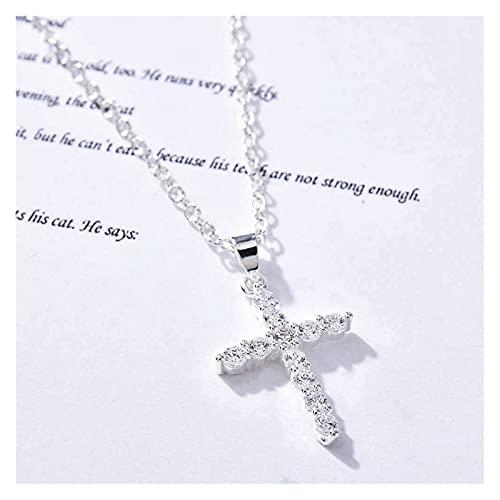 Collar con colgante de cruz simple, collar de cadena con dije de diamantes de imitación de playa, collar de joyería para hombres y mujeres (color metálico: MC921, tamaño: 45 cm)