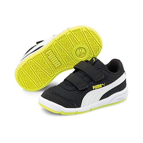 Puma Unisex Baby STEPFLEEX 2 MESH VE V INF Sneaker, Black White-NRGY Yellow, 20 EU