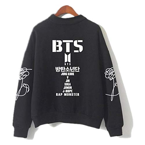 SERAPHY Unisex Sweatshirts Kapuzenpullover Rollkragen Sweatshirts für Armee Suga Jimin Jin Jung Jook J-Hope Rap-Monster V schwarz L