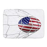 PATINISA バスマット、ネットでのアメリカのサッカーボールの3Dレンダリング、マット滑り止め ソフトタッチ 丸洗い 洗濯 台所 脱衣場 キッチン 玄関やわらかマット 45x 75cm