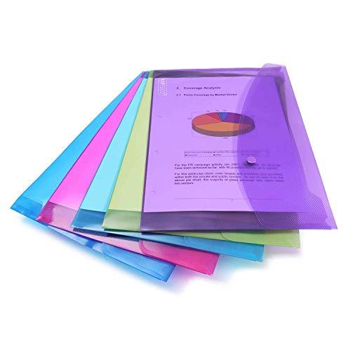 Rapesco 0688 Dokumentenmappe mit Druckknopf A4 - Verschiedene Farben - Dokumententasche 5 Stück