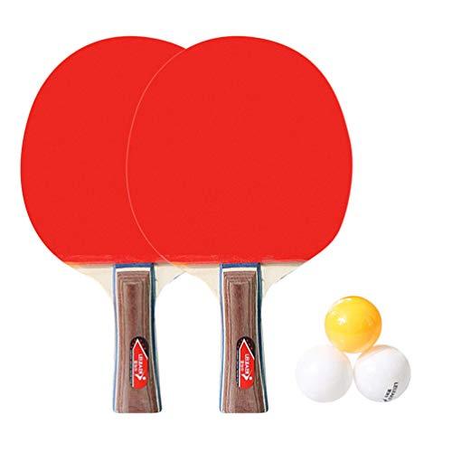 FAVOMOTO Pong Paddle Set Raquete de Tênis de Mesa para 2 Jogadores Raquete de Bastão de Pong Rack para Treinamento de Jogo Interno Ao Ar Livre (Aperto de Mão Com Punho Longo)