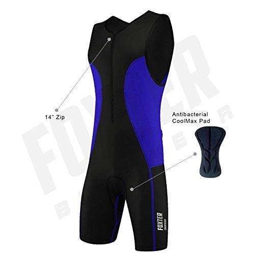 Foxter Homme Active Performance Combinaison de Triathlon Tri Suit Swim Bike Run Compression pour...