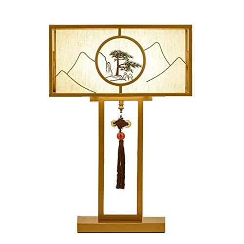 YWSZJ Dormitorio lámpara de Mesa, Sala de Estar lámpara de Estudio de Noche Lámpara de Mesa Moderna, Tela, Hierro Forjado