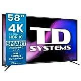 TD Systems K58DLJ12US - Televisores Smart TV 58 Pulgadas 4k UHD Android 9.0 y HBBTV, 1500 PCI Hz, 3X HDMI, 2X USB. DVB-T2/C/S2, Modo Hotel. Televisiones