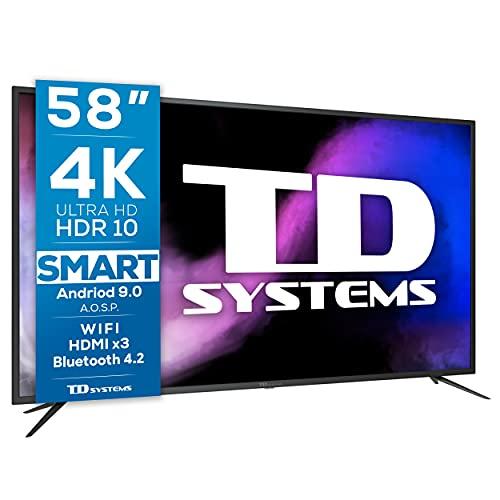 TD Systems K58DLJ12US - Televisores Smart TV 58 Pulgadas 4k UHD Android 9.0 y HBBTV, 1500 PCI Hz, 3X...