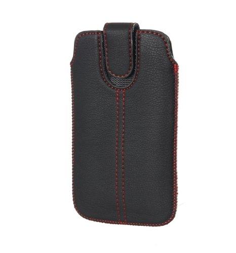Handytasche Redstripe für Samsung Galaxy S5 (G900F) Handy Tasche Schutz Hülle Slim Case Etui schwarz mit Klettverschluss (S5)