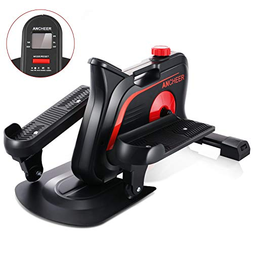 ANCHEER Under Desk Elliptical Trainer for Home & Office, Ellipticals Under Desk Bikes with Built-in Display Monitor & Unlimited Resistance & Smooth Quiet Belt Drive, Mini Strider for Home Office Use