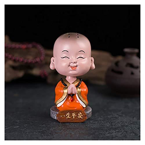 MINGYUE Car Ornaments Resin Cute Shaking Head Monk Buddha Figurine Automobile Decoration Home Auto Interior Dashboard Decor Bobbleheads (Color : Safety)