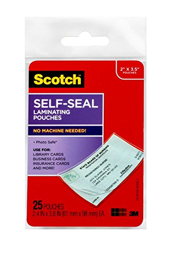 Scotch LS851G SelfSealing Laminating Pouches 95 mil 2 7/16 x 3 7/8 Business Card Size Pack of 25
