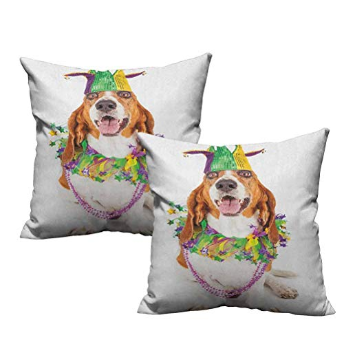 2 Piece Throw Pillow Cushion Cover Happy Smiling Basset Hound Dog Wearing a Jester Hat Neck Garland Bead Necklace 20'x20',Soft and Cozy, Wrinkle