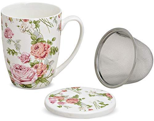 matches21 Teetasse Teebecher Rose Blüten Rosenblüten mit Deckel & Teesieb aus Porzellan 11 cm / 300 ml