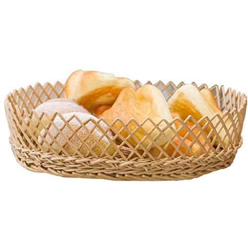 Tazones de Almacenamiento for el hogar Bowls Fruit Bowls -Rattan Mimbre Bambú Fruta Bowls Fruta Cesta Placa Vegetal Placa de Almacenamiento Cesta TINGG