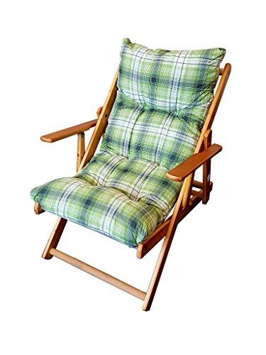 Totò Piccinni POLTRONA SEDIA SDRAIO HARMONY RELAX (VERDE) in legno pieghevole cuscino imbottito soggiorno cucina giardino salone divano