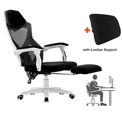 HOMEFUN Ergonomic Office Chair, High Back Adjustable Mesh Recliner Chair with Footrest, Desk Task Chair with Armrests White and Lumbar Support chair footrest gaming