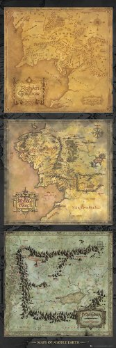 GB Eye 53 x 158 cm Herr der Ringe Maps of Middle Earth Tür Poster