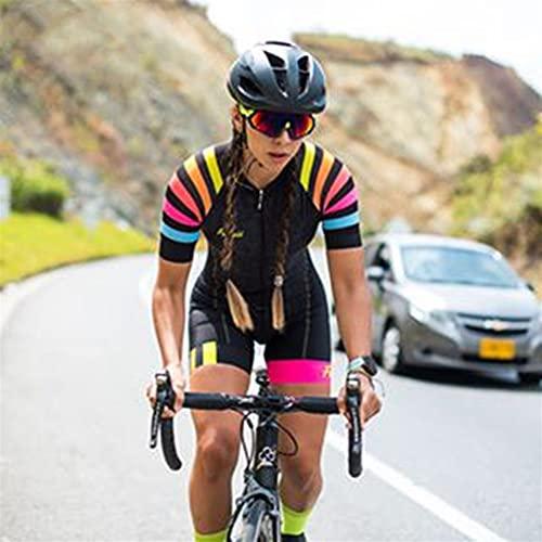 Frauen Radfahren Jersey Kurzarm Radfahren Kleidung Anzug Mountainbike Outdoor Sports Fahrrad Jumpsuit Triathlon (Color : 64, Size : Small 20mm)