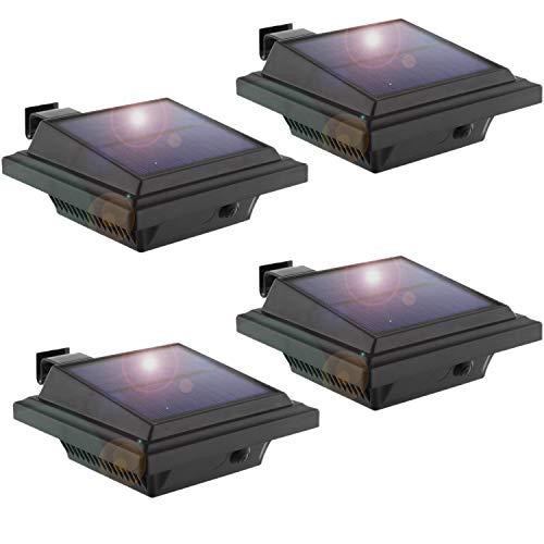 LED Solar Dachrinnenleuchte, KEENZO Solarlampen für Außen, 25LEDs Solarlicht, Auto ON/OFF, Schwarz, Kaltweißes Licht (4er set)