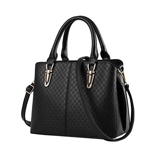 Nicole&Doris 2021 Modetrend weibliche Handtasche große Tasche Retro-Handtaschen lässig Umhängetasche Kuriertasche für Frauen(Black)