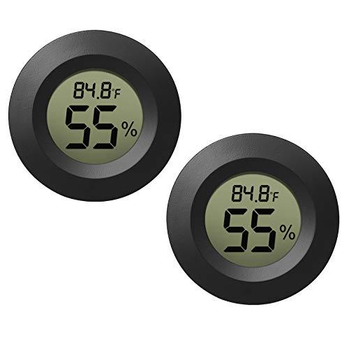 EEEKit 2-Pack Hygrometer Thermometer Digital LCD Monitor Indoor Outdoor Humidity Meter Gauge for Humidifiers Dehumidifiers Greenhouse Basement Babyroom, Black Round, Measure in Fahrenheit/Celsius