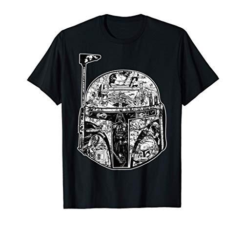 Star Wars Boba Fett Storyboard Helmet Black & White T-Shirt