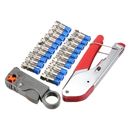 Agatige Kit de Herramientas de compresión Kit de Herramientas de compresión coaxial engarzadora de Cable coaxial con Herramienta de prensado de Cabeza F Juego de Pelacables(A)