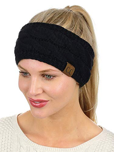 C.C Soft Stretch Winter Warm Cable Knit Fuzzy Lined Ear Warmer Headband, Black