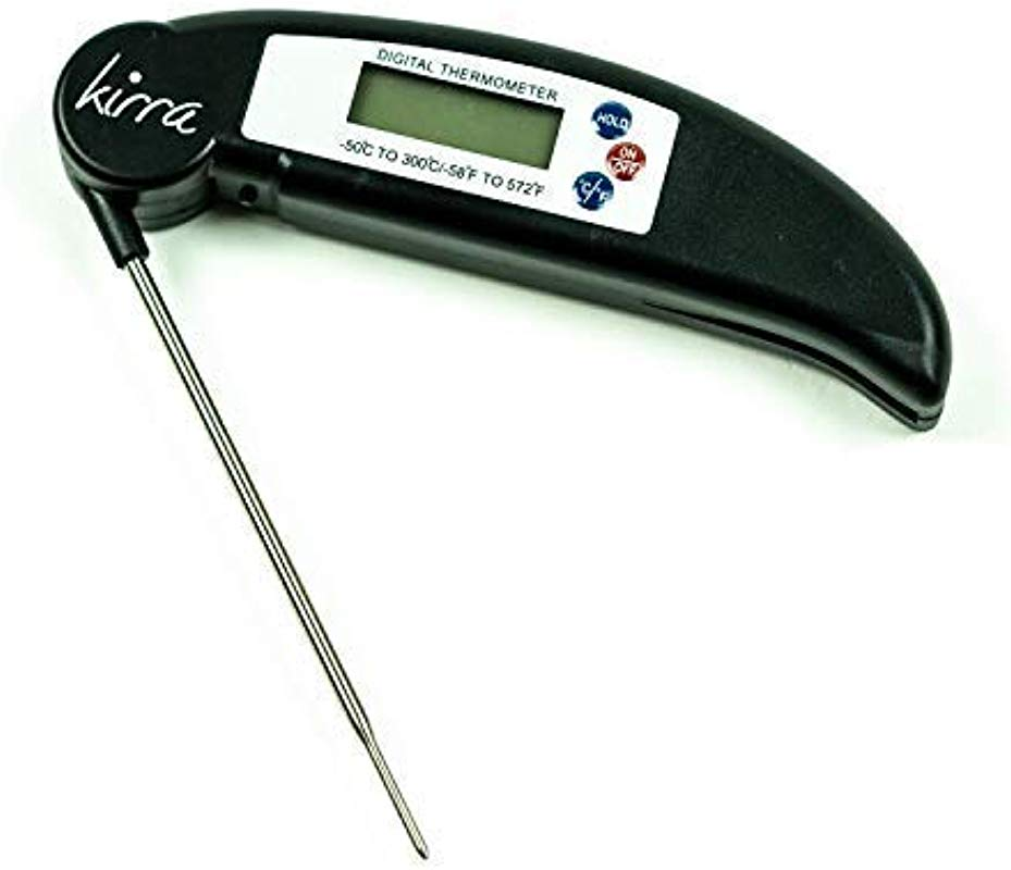 KIRRA Instant Read Digital Pocket Thermometer Cooking Thermometer For Meats Liquids Kitchen Grill Or BBQ Battery Included Easy To Use And Clean Stainless Steel Probe Bright Backlight