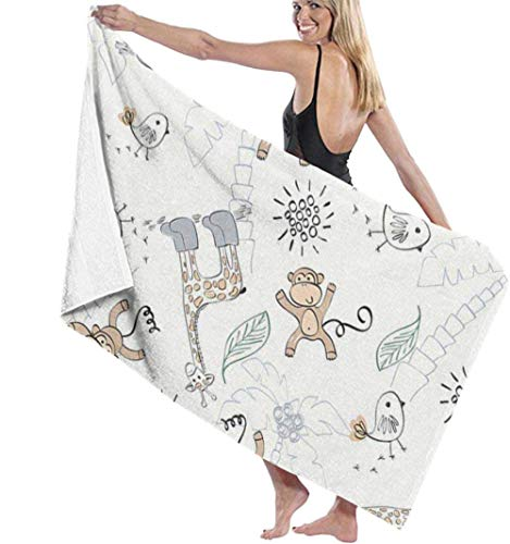 Toalla De Playa Toallas Baño,Naughty Monkey Zebra Bird Ink Animais, Toalla De Microfibra Sports Travel Toalla De Playa Secado Rápido Super Absorbente 80X130Cm